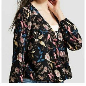 Mossimo Black Floral Faux Wrap Tie Blouse. Size M.